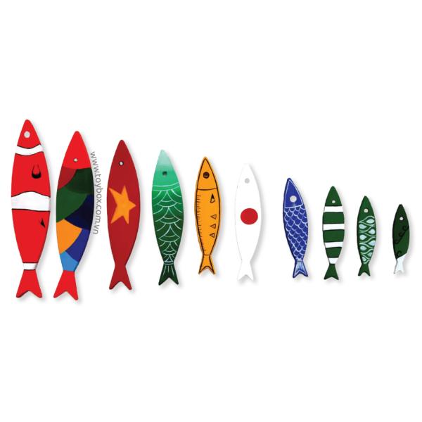 Phụ kiện trang trí Set 10 cá gỗ tô sẵn nhiều màu phong cách trừu tượng